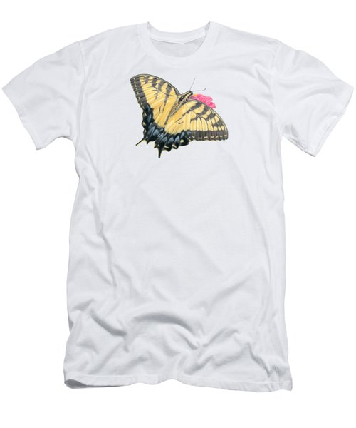 Swallowtail Butterfly And Zinnia- Transparent Backgroud Men's T-Shirt (Athletic Fit)