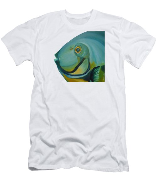 Men's T-Shirt (Athletic Fit) featuring the painting Blue Fish by Angeles M Pomata