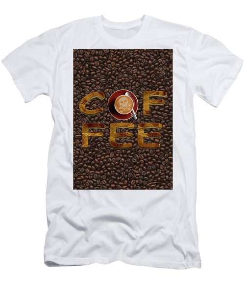 Men's T-Shirt (Slim Fit) featuring the painting Coffee Funny Typography by Georgeta Blanaru