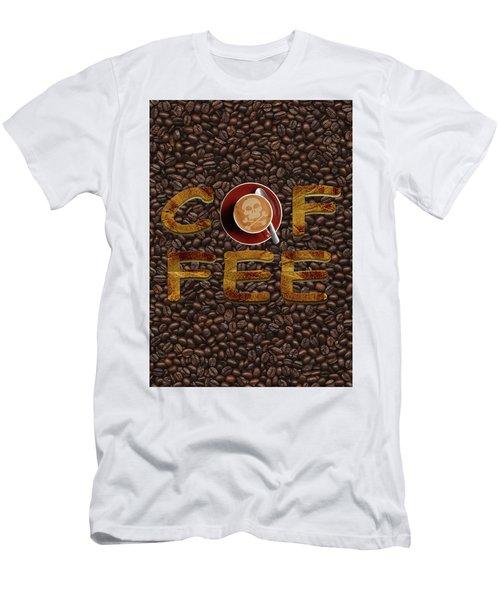Coffee Funny Typography Men's T-Shirt (Slim Fit) by Georgeta Blanaru