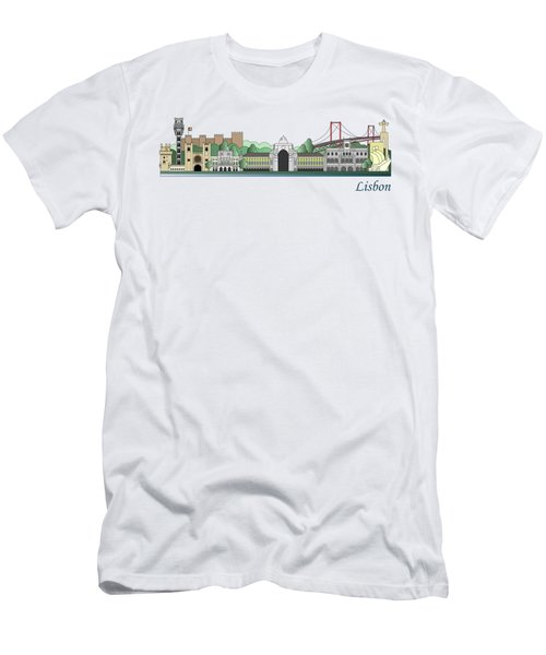 Lisbon Skyline Colored Men's T-Shirt (Athletic Fit)