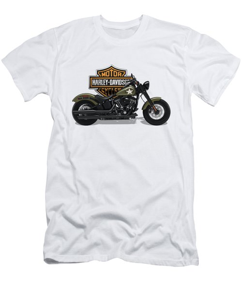Men's T-Shirt (Slim Fit) featuring the digital art 2017 Harley-davidson Softail Slim S Motorcycle With 3d Badge Over Vintage Background  by Serge Averbukh