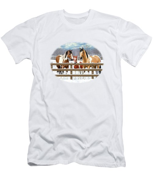 Paint Horses In Winter Corral Men's T-Shirt (Athletic Fit)