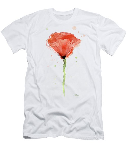 Abstract Red Poppy Watercolor Men's T-Shirt (Athletic Fit)