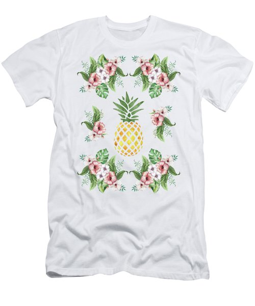 Exotic Hawaiian Flowers And Pineapple Men's T-Shirt (Athletic Fit)