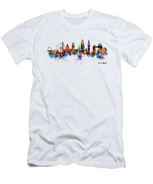 London Watercolor Skyline Silhouette Men's T-Shirt (Athletic Fit)