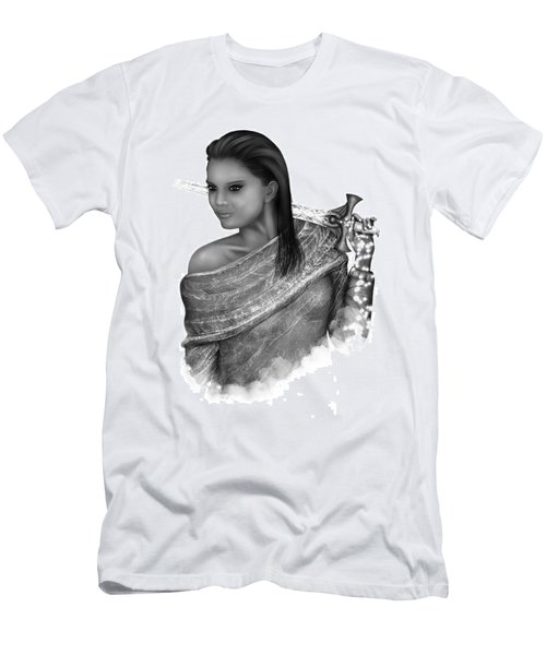 Men's T-Shirt (Athletic Fit) featuring the painting After The Battle Black And White Female Fantasy Art by Raphael Lopez