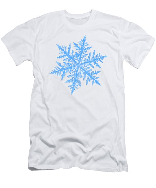 Men's T-Shirt (Athletic Fit) featuring the digital art Snowflake Vector - Silverware White by Alexey Kljatov