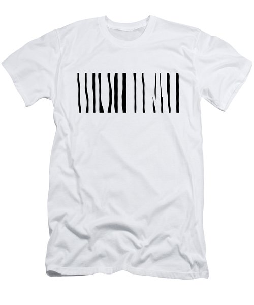 Organic No 12 Black And White Line Abstract Men's T-Shirt (Athletic Fit)