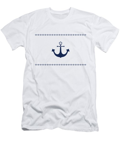 Anchor With Knot Border In Blue Men's T-Shirt (Athletic Fit)