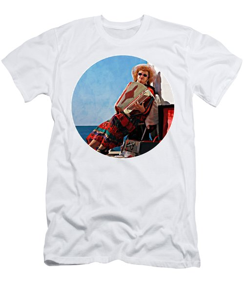 Men's T-Shirt (Athletic Fit) featuring the photograph Peggy's Cove Lighthouse - Fun And Entertainment by Tatiana Travelways