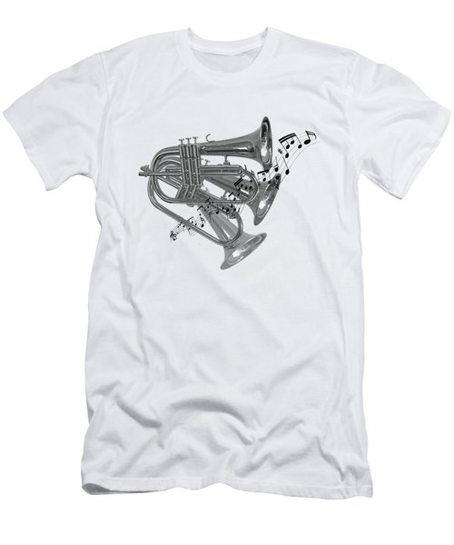 Trumpet Fanfare Black And White Men's T-Shirt (Slim Fit) by Gill Billington