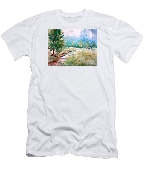 Men's T-Shirt (Slim Fit) featuring the painting Aska Farm Creek by Gretchen Allen