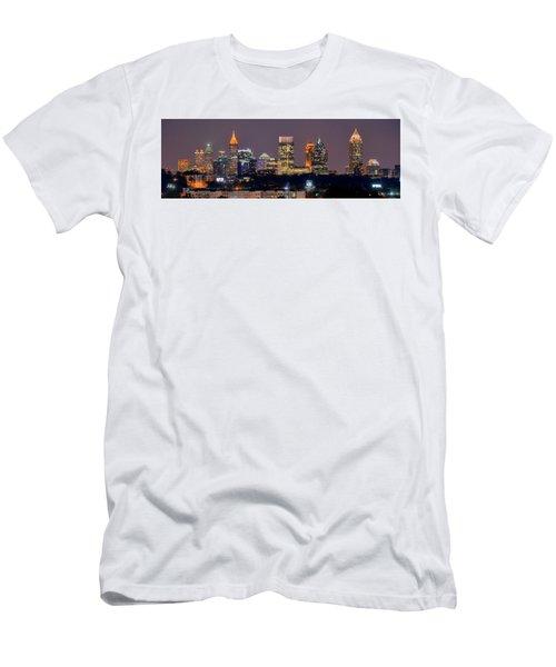Atlanta Skyline At Night Downtown Midtown Color Panorama Men's T-Shirt (Athletic Fit)