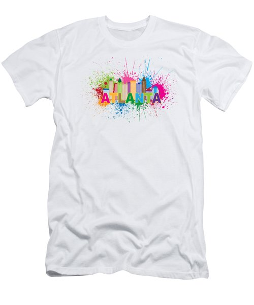Atlanta Skyline Paint Splatter Text Illustration Men's T-Shirt (Athletic Fit)