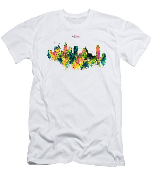 Atlanta Watercolor Skyline  Men's T-Shirt (Athletic Fit)