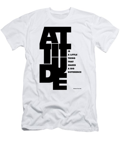 Attitude - Winston Churchill Inspirational Typographic Quote Art Poster Men's T-Shirt (Slim Fit)