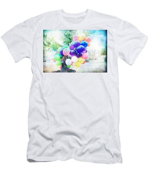 Men's T-Shirt (Slim Fit) featuring the photograph Smiley Face Balloons by Toni Hopper