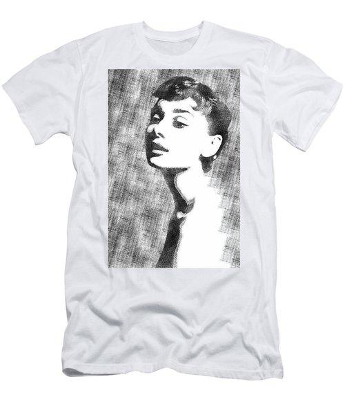 Audrey Hepburn Bw Portrait Men's T-Shirt (Slim Fit) by Mihaela Pater