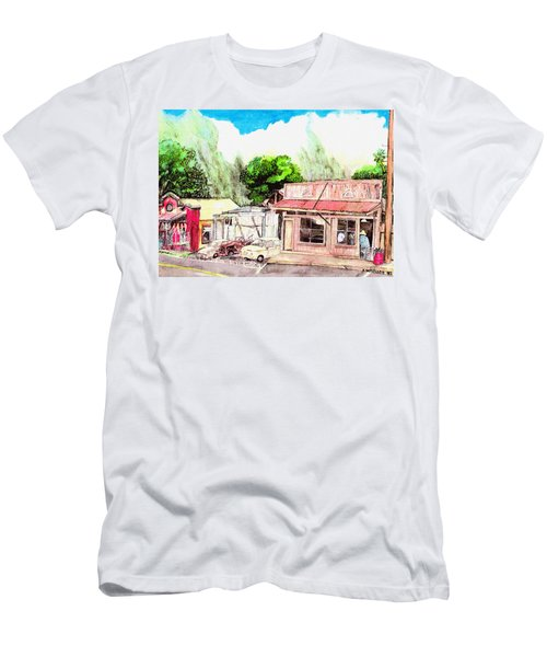 Men's T-Shirt (Slim Fit) featuring the painting Auggies Pool Hall by Eric Samuelson