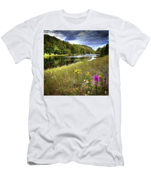 Men's T-Shirt (Slim Fit) featuring the photograph August Flowers On The Pond by David Patterson
