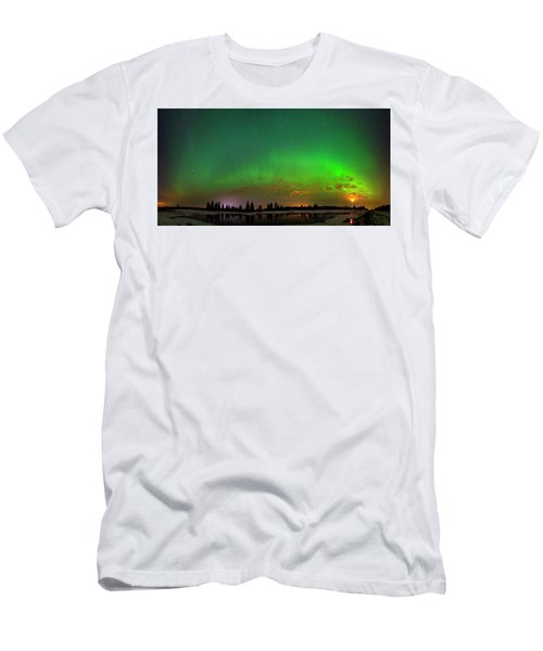 Men's T-Shirt (Slim Fit) featuring the photograph Aurora Over Pond Panorama by Dan Jurak
