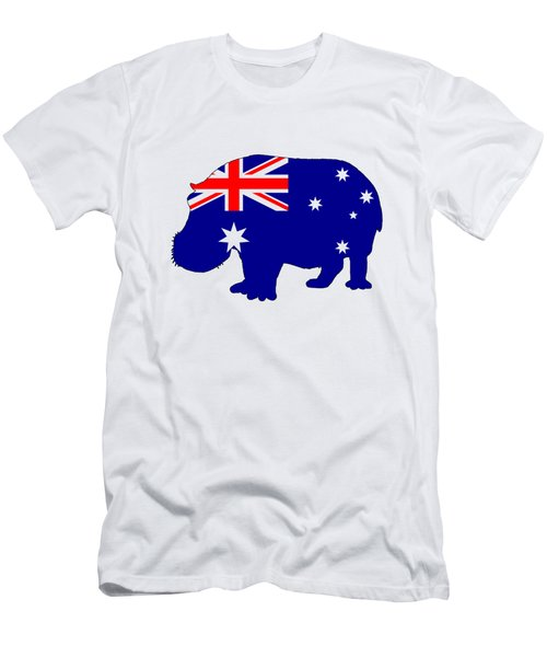 Australian Flag - Hippopotamus Men's T-Shirt (Slim Fit) by Mordax Furittus