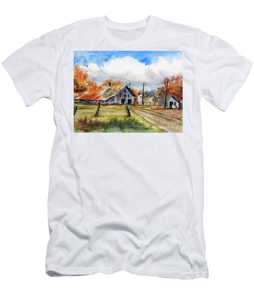 Men's T-Shirt (Slim Fit) featuring the painting Autumn At The Farm by Ron Stephens