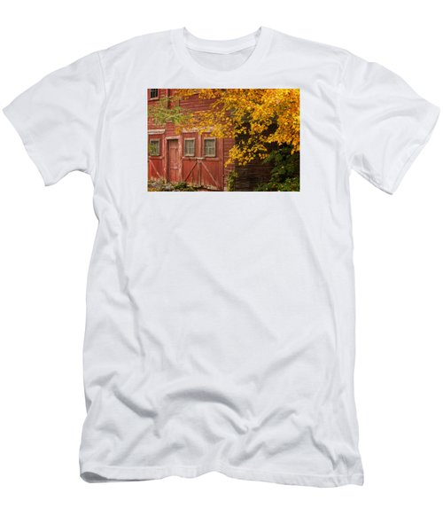 Men's T-Shirt (Slim Fit) featuring the photograph Autumn Barn by Tom Singleton