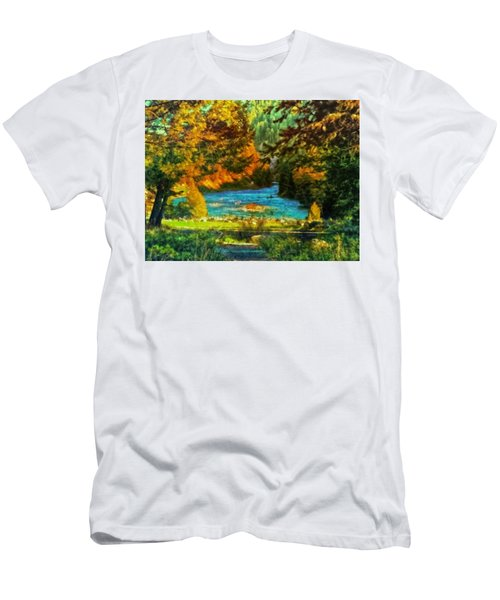 Autumn By A Montana Pond Men's T-Shirt (Athletic Fit)