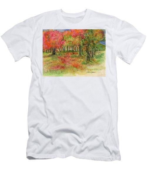 Autumn Forest Watercolor Illustration Men's T-Shirt (Athletic Fit)