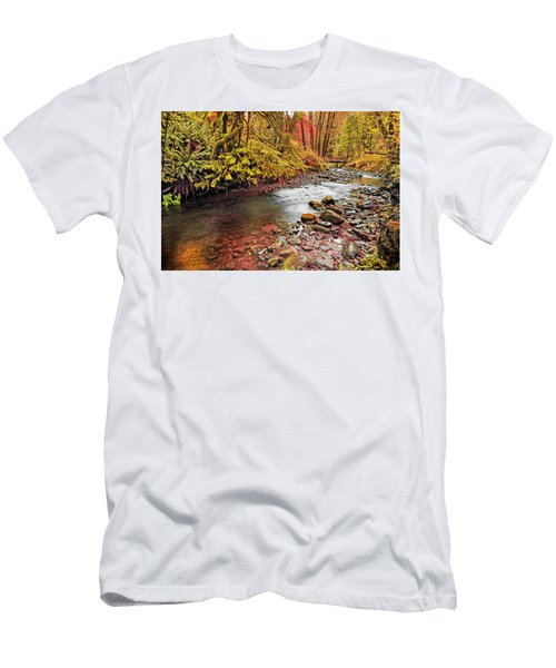 Autumn Sunrise In An Oregon Rain Forest  Men's T-Shirt (Athletic Fit)