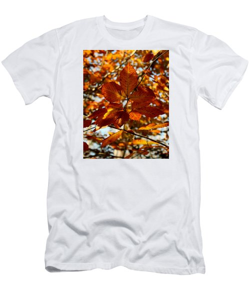 Men's T-Shirt (Slim Fit) featuring the photograph Autumn Leaves by Karen Harrison