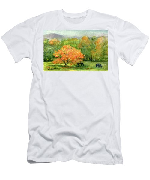 Autumn Maple With Horses Grazing Men's T-Shirt (Athletic Fit)