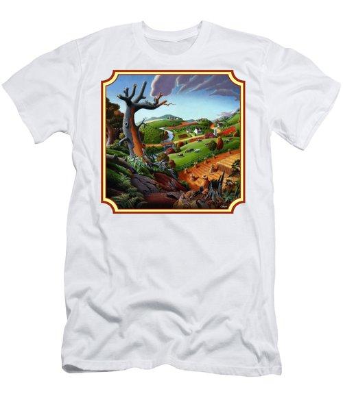 Autumn Wheat Harvest Country Farm Life Landscape - Square Format Men's T-Shirt (Athletic Fit)