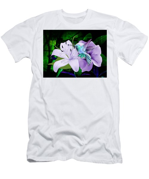 Men's T-Shirt (Athletic Fit) featuring the mixed media Aviation Hummingbird by Marvin Blaine