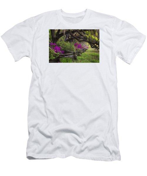 Men's T-Shirt (Athletic Fit) featuring the photograph Azalea Fence Under Giant Oaks by Ken Barrett
