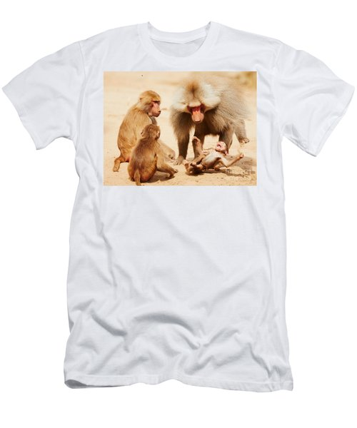 Baboon Family Having Fun In The Desert Men's T-Shirt (Athletic Fit)