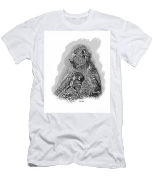 Baboon Mother And Young Men's T-Shirt (Athletic Fit)
