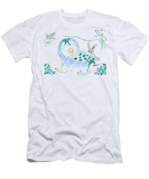 Men's T-Shirt (Athletic Fit) featuring the painting Baby Boy With Bunny And Birds by Claire Bull
