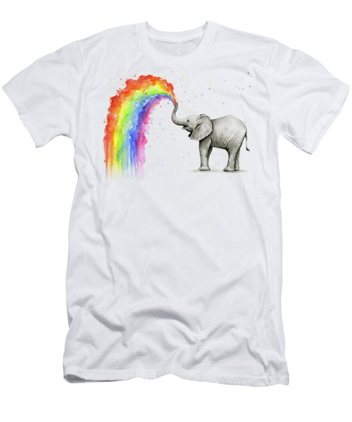 Baby Elephant Spraying Rainbow Men's T-Shirt (Athletic Fit)