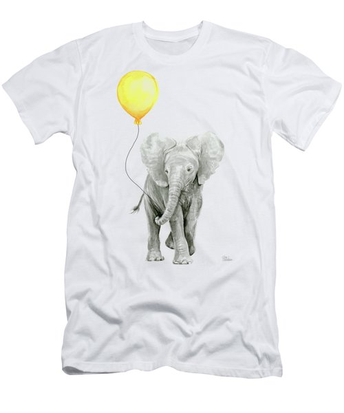 Baby Elephant Watercolor With Yellow Balloon Men's T-Shirt (Athletic Fit)