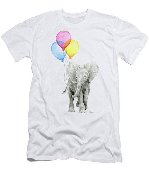 Baby Elephant With Baloons Men's T-Shirt (Slim Fit) by Olga Shvartsur