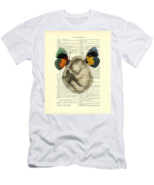 Baby Foetus And Butterflies Men's T-Shirt (Athletic Fit)