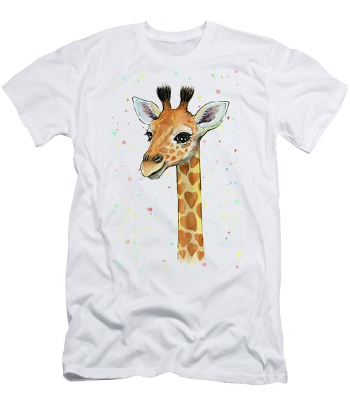 Baby Giraffe Watercolor With Heart Shaped Spots Men's T-Shirt (Slim Fit) by Olga Shvartsur