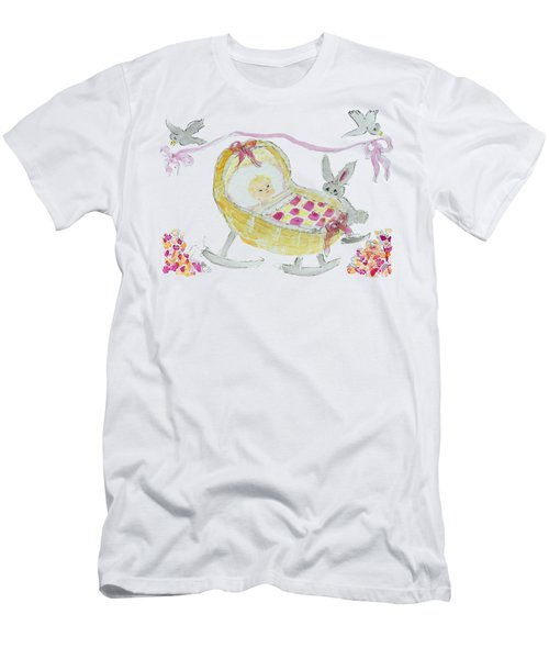 Baby Girl With Bunny And Birds Men's T-Shirt (Athletic Fit)