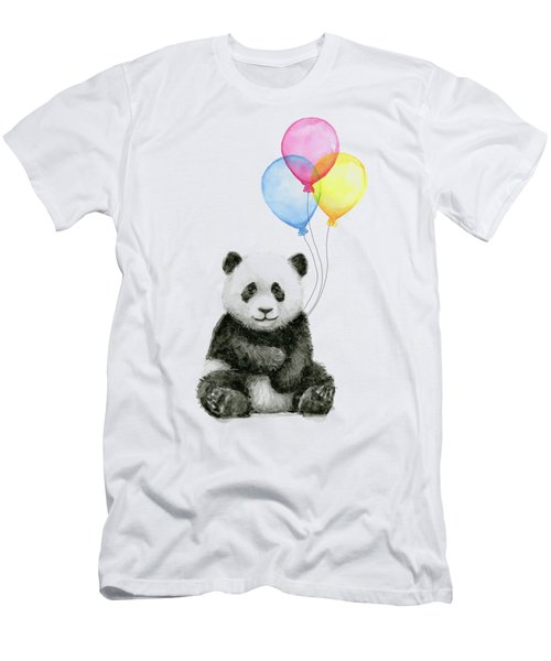 Baby Panda Watercolor With Balloons Men's T-Shirt (Athletic Fit)