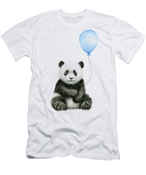 Baby Panda With Blue Balloon Watercolor Men's T-Shirt (Athletic Fit)