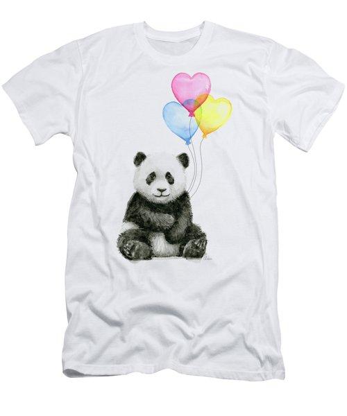 Baby Panda With Heart-shaped Balloons Men's T-Shirt (Slim Fit) by Olga Shvartsur