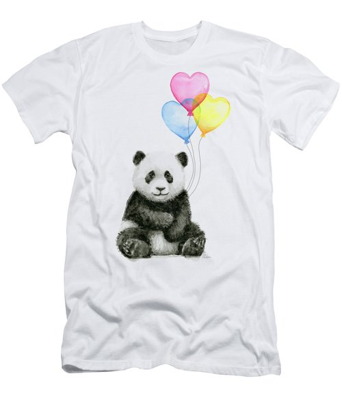 Baby Panda With Heart-shaped Balloons Men's T-Shirt (Athletic Fit)